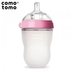 COMOTOMO - antykolkowa butelka silikonowa 250 ml Pink BABY