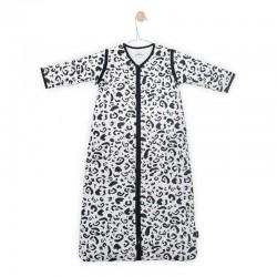 Jollein - Śpiworek niemowlęcy całoroczny 4 pory roku z odpinanymi rękawami Leopard BLACK & WHITE 70 cm