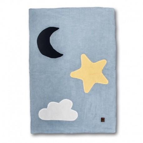 Hi Little One - Kołderka do łóżeczka z oddychającej bawełny organicznej GOTS Day & Night Baby Blue