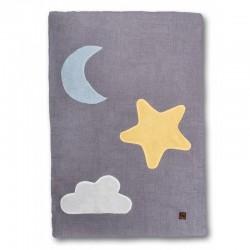 Hi Little One - Kołderka do łóżeczka z oddychającej BIO bawełny organicznej GOTS Day & Night Grey