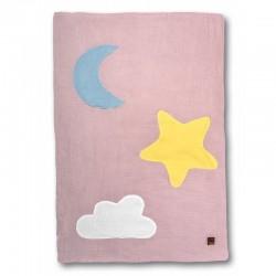 Hi Little One - Kołderka do łóżeczka z oddychającej BIO bawełny organicznej GOTS Day & Night Blush