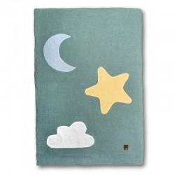 Hi Little One - Kołderka do łóżeczka z oddychającej BIO bawełny organicznej GOTS Day & Night Green Forest