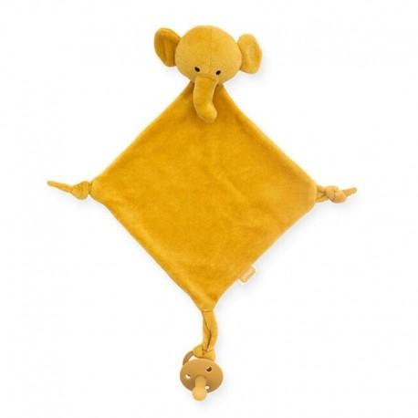 Jollein - przytulanka dou dou z zawieszką na smoczek Elephant Mustard