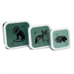 Petit Monkey - 3 śniadaniówki lunchboxy Black Animals Salie