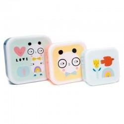 Petit Monkey - 3 śniadaniówki lunchboxy Panda Love
