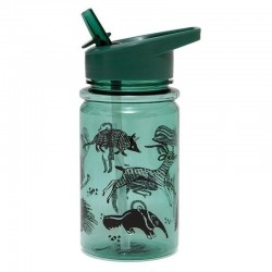 Petit Monkey - Bidon transparentny ze składanym ustnikiem i słomką Black Animals salie