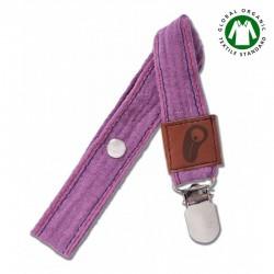 Hi Little One - Zawieszka do smoczka z organicznej BIO bawełny GOTS Muslin Pacifier holder Lavender
