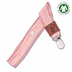 Hi Little One - Zawieszka do smoczka z organicznej BIO bawełny GOTS Muslin Pacifier holder White