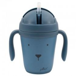 Jollein - EKO Kubek do nauki picia ze składanym ustnikiem Animal Club Steel Blue