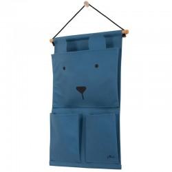 Jollein - Przybornik na łóżeczko Canvas Animal Club Steel Blue