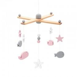 Jollein - Karuzela do łóżeczka Baby Mobile Sea Animals Pink & White