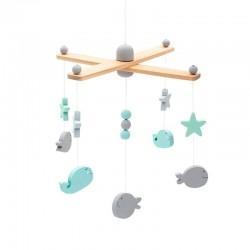 Jollein - Karuzela do łóżeczka Baby Mobile Sea Animals Grey & Mint