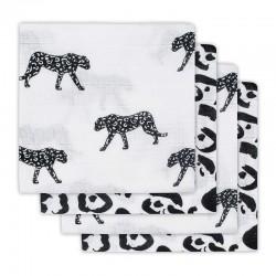 Jollein - 4 pieluszki niemowlęce Hydrophlic 70 x 70 cm Leopard BLACK & WHITE