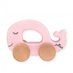 Jollein - Autko drewniane Sea Animals Wieloryb Pink