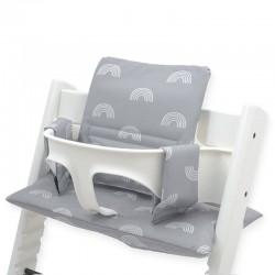 Jollein - poduszka do krzesełka Stokke Tripp Trapp Tęcza Rainbow Grey