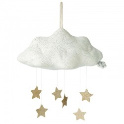 Picca LouLou - Zawieszka mobile Sparkle Cloud WHITE with Stars 34 cm