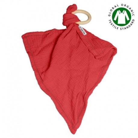 Hi Little One - Przytulanka dou dou z gryzakiem z organicznej BIO bawełny GOTS cozy muslin with wood teether 2in1 Strawberry