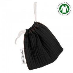 Hi Little One - Woreczek na smoczek z organicznej BIO bawełny GOTS muslin pacifier bag Black