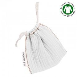Hi Little One - Woreczek na smoczek z organicznej BIO bawełny GOTS muslin pacifier bag White