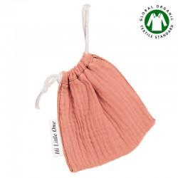 Hi Little One - Woreczek na smoczek z organicznej BIO bawełny GOTS muslin pacifier bag Salmon