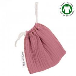 Hi Little One - Woreczek na smoczek z organicznej BIO bawełny GOTS muslin pacifier bag Baby Pink Dark