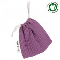 Hi Little One - Woreczek na smoczek z organicznej BIO bawełny GOTS muslin pacifier bag Lavender