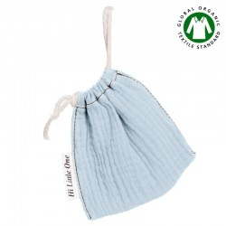 Hi Little One - Woreczek na smoczek z organicznej BIO bawełny GOTS muslin pacifier bag Baby Blue