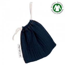 Hi Little One - Woreczek na smoczek z organicznej BIO bawełny GOTS muslin pacifier bag Navy