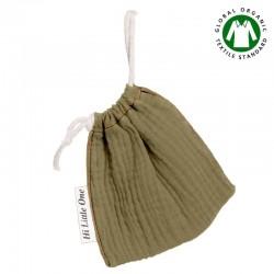 Hi Little One - Woreczek na smoczek z organicznej BIO bawełny GOTS muslin pacifier bag Green Hunter