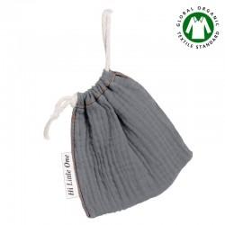 Hi Little One - Woreczek na smoczek z organicznej BIO bawełny GOTS muslin pacifier bag Iron