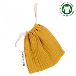 Hi Little One - Woreczek na smoczek z organicznej BIO bawełny GOTS muslin pacifier bag Mustard