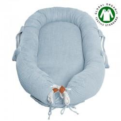 Hi Little One - Kokon gniazdko dla Noworodka z organicznego oddychającego BIO muślinu GOTS NEWBORN NEST BABY BLUE