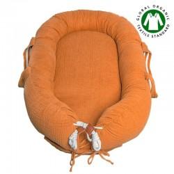 Hi Little One - Kokon gniazdko dla Noworodka z organicznego oddychającego BIO muślinu GOTS NEWBORN NEST PUMPKIN