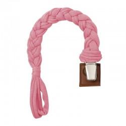 Hi Little One - warkoczykowa bawełniana zawieszka do smoczka Pacifier holder Baby Pink