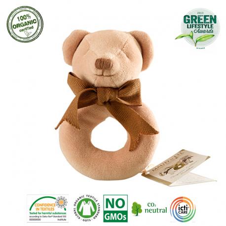 Maud N Lil Grzechotka organiczna miękka z BIO bawełny GOTS Cubby the Teddy Ring Rattle