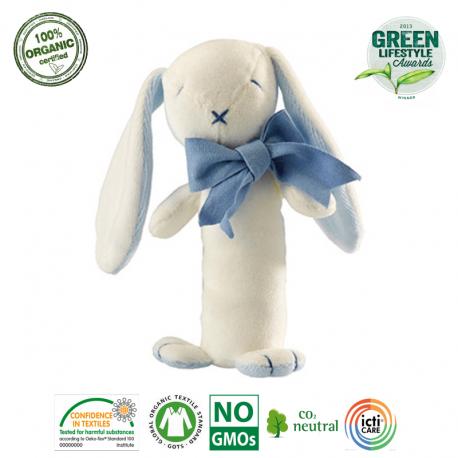 Maud N Lil Grzechotka organiczna miękka z BIO bawełny GOTS Oscar The Bunny Stick Rattle