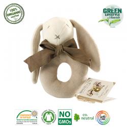 Maud N Lil Grzechotka organiczna miękka z BIO bawełny GOTS Ears the Bunny Ring Rattle