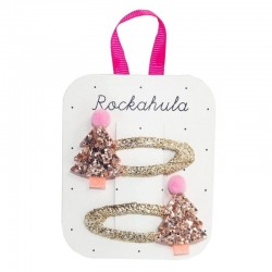 Rockahula Kids - spinki do włosów Rose Gold XMAS TREE
