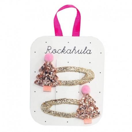 Rockahula Kids - spinki do włosów Rose Gold XMAS TREE