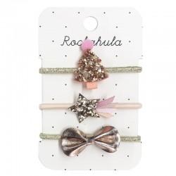 Rockahula Kids - 3 gumki do włosów Rose Gold XMAS TREE