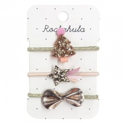 Rockahula Kids - gumki do włosów Rose Gold XMAS TREE