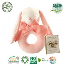 Maud N Lil Grzechotka organiczna miękka z BIO bawełny GOTS Rose the Bunny Ring Rattle