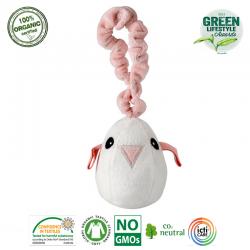 Maud N Lil Zawieszka ćwierkająca do wózka z BIO organicznej bawełny GOTS Tweet The Bird Pink