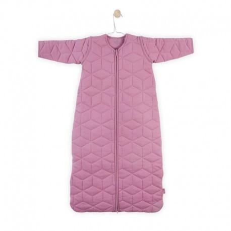 Jollein - Śpiworek niemowlęcy całoroczny 4 pory roku z odpinanymi rękawami Graphic Quilt Mauve 90 cm