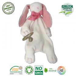 Maud N Lil Opiekun smoczka z organicznej BIO bawełny GOTS Rose The Bunny Comforter 2in1