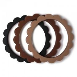 Mushie - 3 gryzaki silikonowe bransoletki FLOWER Black/Caramel/Natural