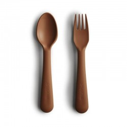 Mushie - Sztućce dla dzieci do nauki samodzielnego jedzenia Caramel