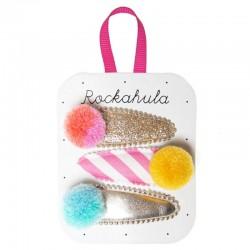 Rockahula Kids - 3 spinki do włosów Candy Stripe Pom Pom